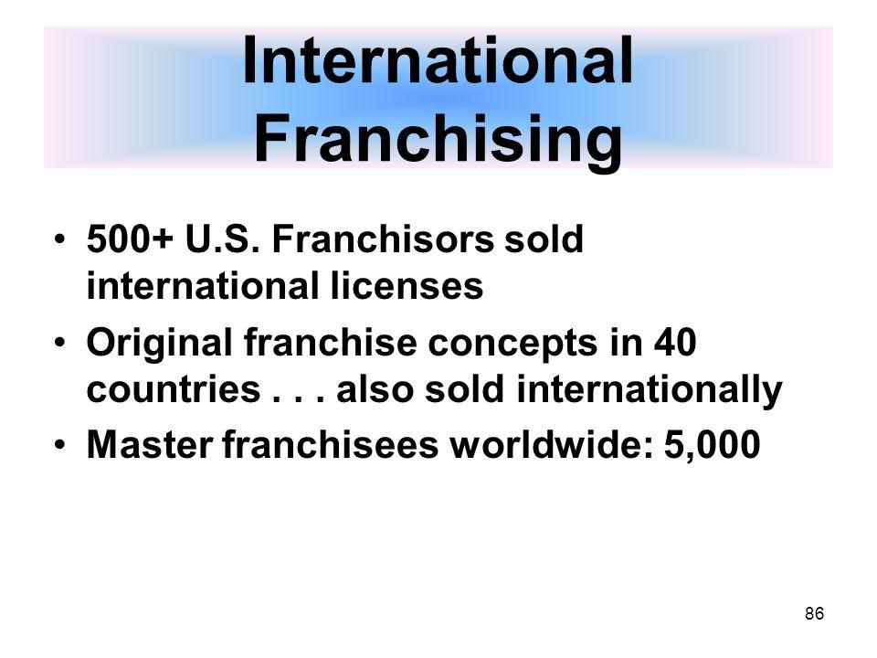 86 International Franchising 500+ U.S.