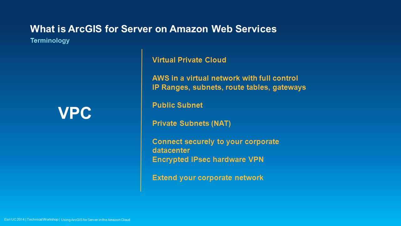 Esri UC 2014 | Technical Workshop | What is ArcGIS for Server on Amazon Web Services VPC Terminology Using ArcGIS for Server in the Amazon Cloud Virtu