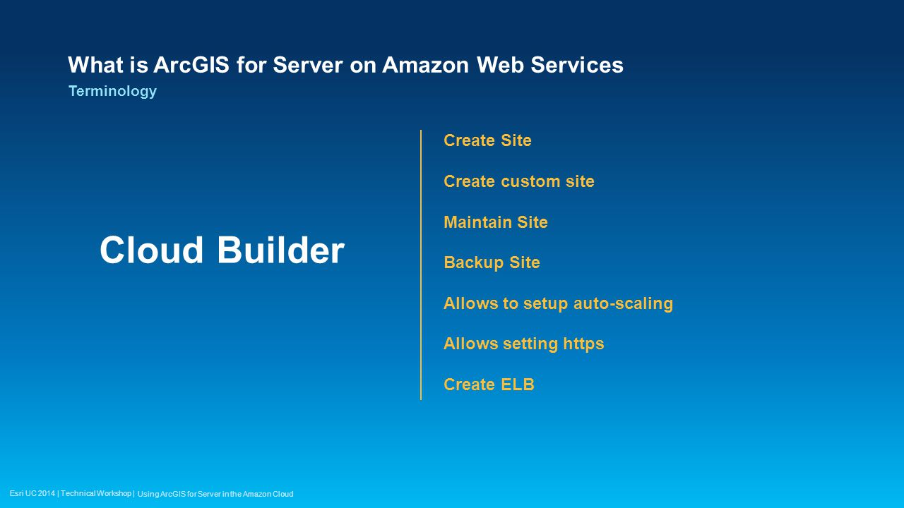 Esri UC 2014 | Technical Workshop | Deploying Web Application Hosting on Amazon S3 - Static- No server side scripting EC2 Instance in your server site EC2 instance apart from your server site Using ArcGIS for Server in the Amazon Cloud