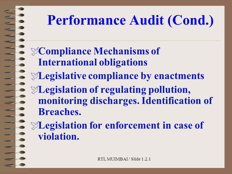 RTI, MUIMBAI / Slide 1.2.1 Performance Audit (Cond.)  Compliance Mechanisms of International obligations  Legislative compliance by enactments  Leg