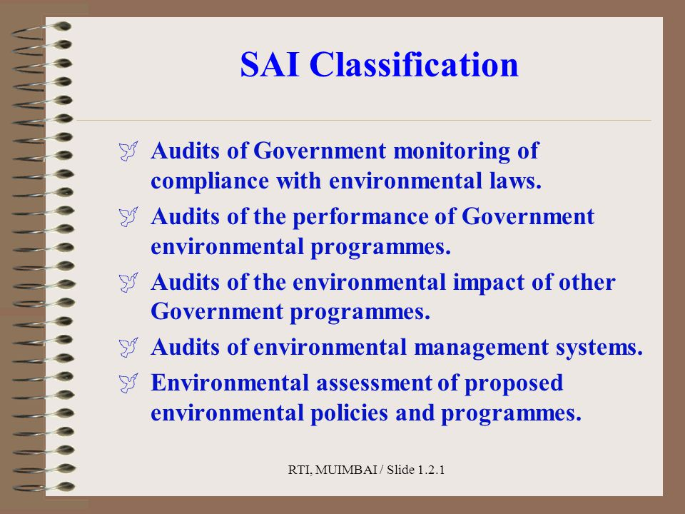 RTI, MUIMBAI / Slide 1.2.1 SAI Classification  Audits of Government monitoring of compliance with environmental laws.  Audits of the performance of
