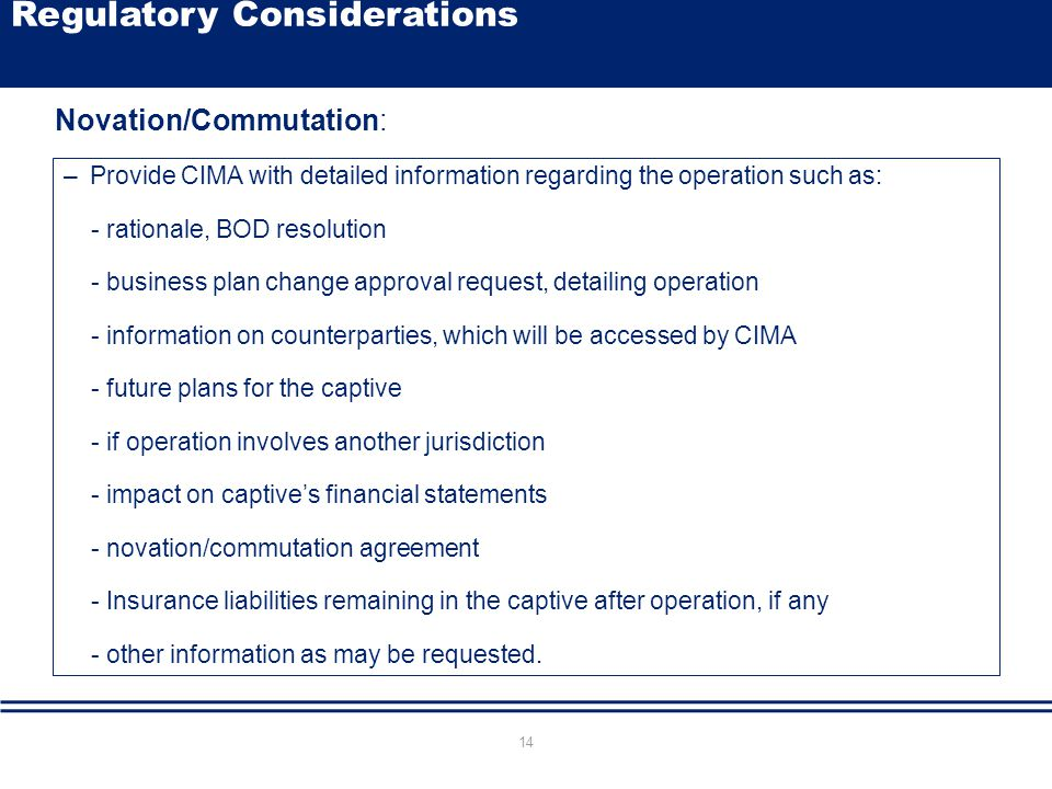 Click to edit Master title style –Provide CIMA with detailed information regarding the operation such as: - rationale, BOD resolution - business plan
