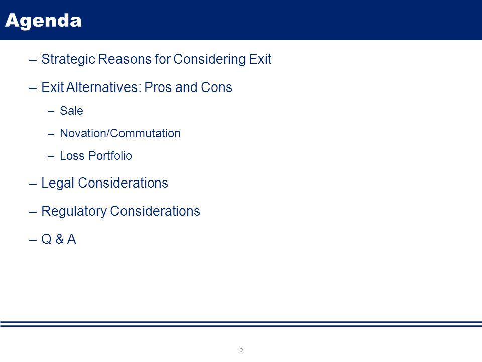 Agenda –Strategic Reasons for Considering Exit –Exit Alternatives: Pros and Cons –Sale –Novation/Commutation –Loss Portfolio –Legal Considerations –Regulatory Considerations –Q & A 2