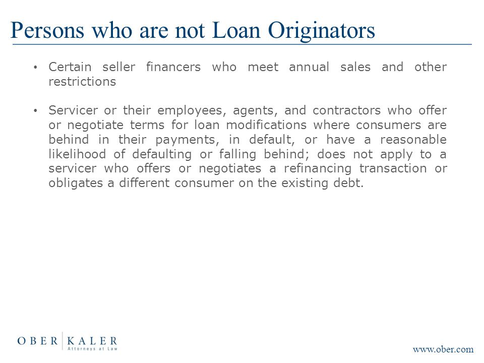 Persons who are not Loan Originators Certain seller financers who meet annual sales and other restrictions Servicer or their employees, agents, and co