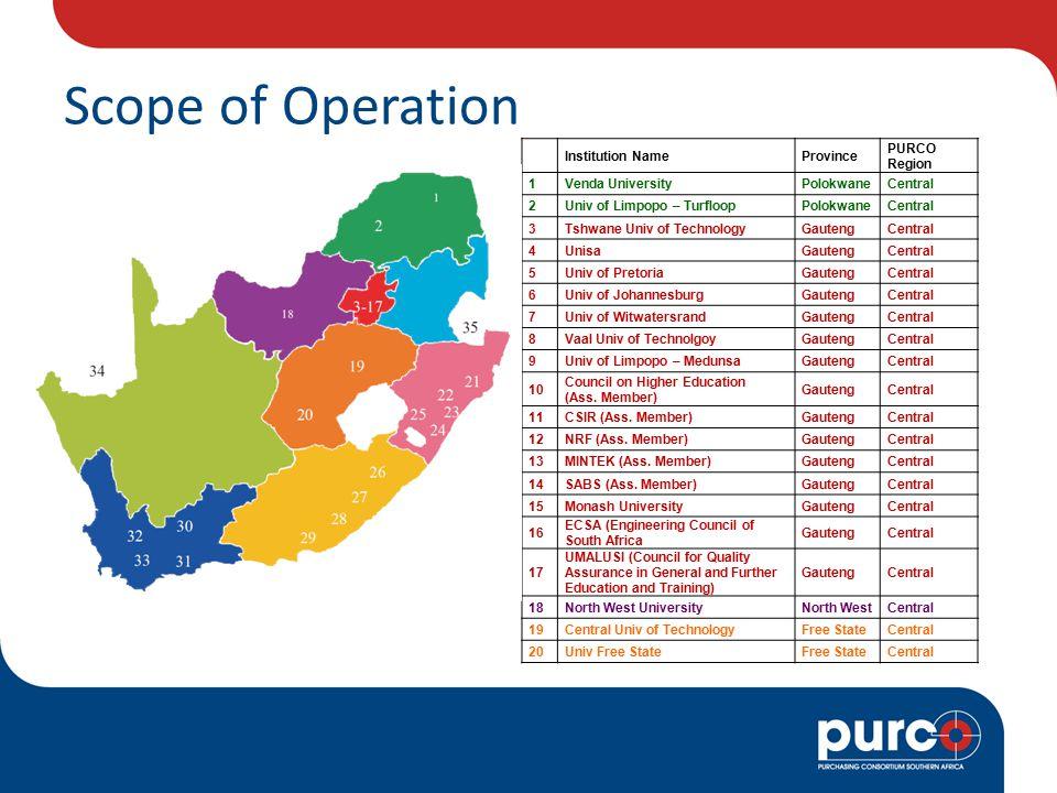 Scope of Operation Institution NameProvince PURCO Region 1Venda UniversityPolokwaneCentral 2Univ of Limpopo – TurfloopPolokwaneCentral 3Tshwane Univ of TechnologyGautengCentral 4UnisaGautengCentral 5Univ of PretoriaGautengCentral 6Univ of JohannesburgGautengCentral 7Univ of WitwatersrandGautengCentral 8Vaal Univ of TechnolgoyGautengCentral 9Univ of Limpopo – MedunsaGautengCentral 10 Council on Higher Education (Ass.