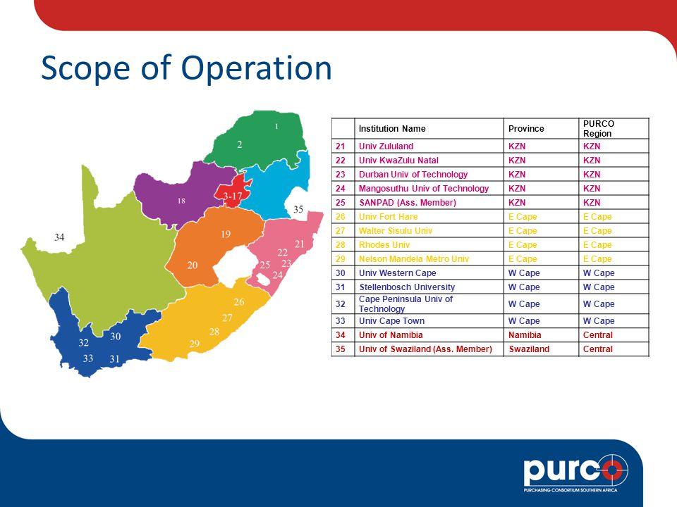 Scope of Operation Institution NameProvince PURCO Region 21Univ ZululandKZN 22Univ KwaZulu NatalKZN 23Durban Univ of TechnologyKZN 24Mangosuthu Univ of TechnologyKZN 25SANPAD (Ass.