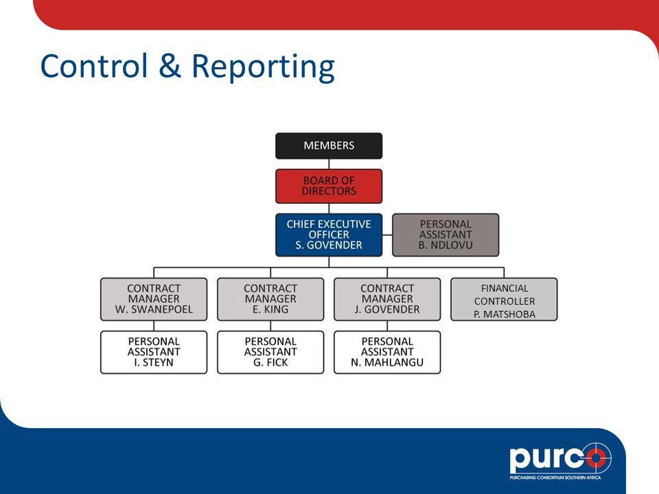 Control & Reporting FINANCIAL CONTROLLER P. MATSHOBA