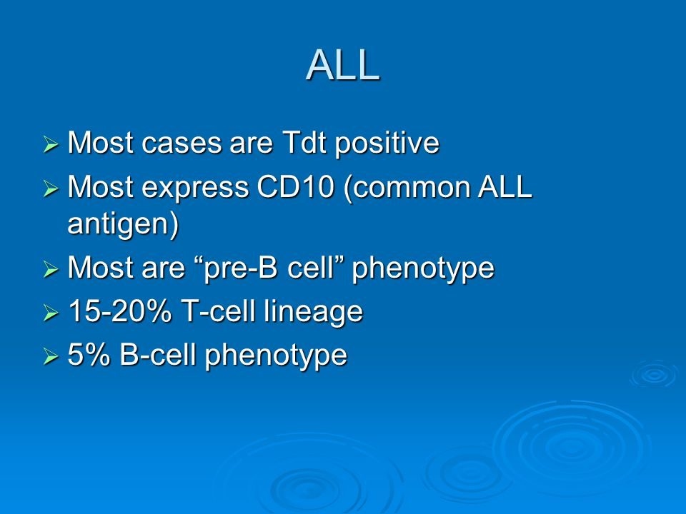 "ALL  Most cases are Tdt positive  Most express CD10 (common ALL antigen)  Most are ""pre-B cell"" phenotype  15-20% T-cell lineage  5% B-cell pheno"