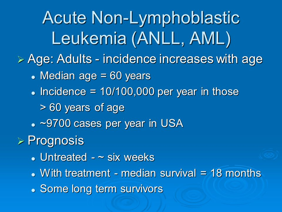 Acute Non-Lymphoblastic Leukemia (ANLL, AML)  Age: Adults - incidence increases with age Median age = 60 years Median age = 60 years Incidence = 10/1