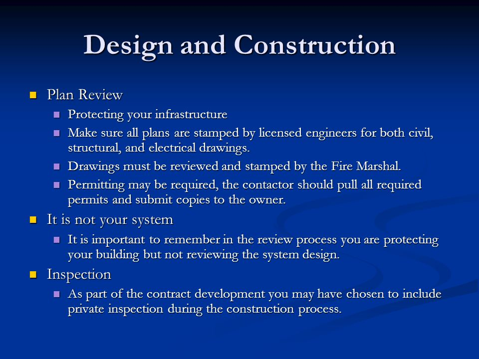 Design and Construction Plan Review Plan Review Protecting your infrastructure Protecting your infrastructure Make sure all plans are stamped by licen