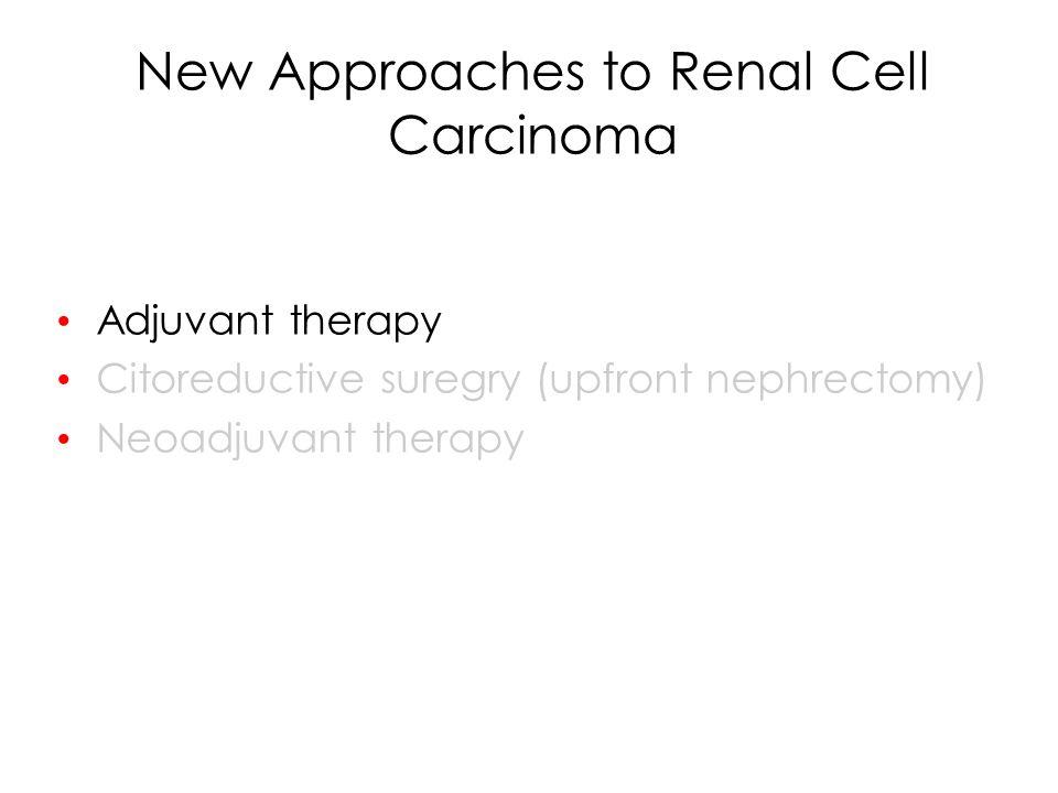 Adjuvant treatment for RCC TreatmentNAuthorOutcome RT vs Obs72KjaerOs 50 v 62% NS MPA vs Obs136PizzocaroRelapse 33 v 33% NS Tumor + BCG v Obs43 120 Adler Galligioni DFS NS DFS 63 vs 72% IFN vs Obs283MessingOS 5.1 vs 7.4 yrs NS HD-IL-2 vs Obs69ClarkRelapse 76 v 65% NS Aut Tum Vacc vs Obs553JochamPFS 77 v 68% (p=0.02) IL-2 + IFN v Obs303PassalacquaRFS OS NS HSPPC-96 vs Obs818WoodRFS NS IL-2 + IFN + 5FU vs Obs309AitchisonDFS OS (preliminary) NS