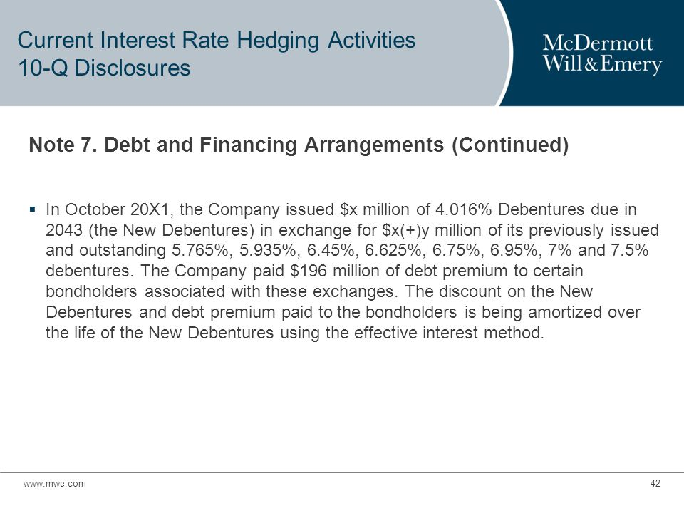 Current Interest Rate Hedging Activities 10-Q Disclosures Note 7.