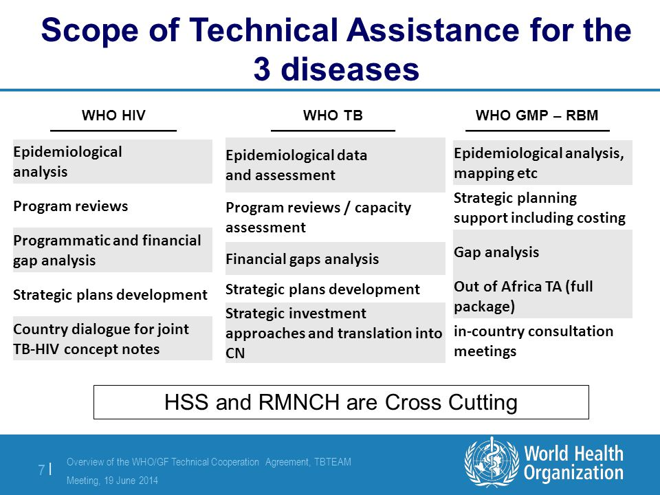 Overview of the WHO/GF Technical Cooperation Agreement, TBTEAM Meeting, 19 June 2014 8 |8 | Review of the national health sector strategy and national disease-specific plans to identify priority areas for cross-cutting RMNCH and HSS investments ( focus on PSM, HMIS, HRH, service delivery & financial management) Preliminary high level gap analysis and analytical needs assessment within identified priority RMNCH and HSS areas to prioritize strategic investments Designing evidence-based high-impact RMNCH and HSS interventions for inclusion in CNs (included in either disease concept notes, or as stand-alone HSS grant) Country dialogue to ensure inclusion of RMNCH and HSS priorities, discussions on programme split Training HSS consultants and WHO HSS staff in NFM and RMNCH/HSS WHO HSS/RMNCH Scope of Technical Assistance for HSS and RMNCH