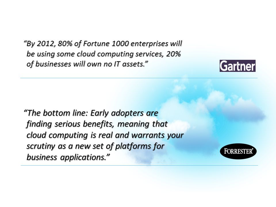 """By 2012, 80% of Fortune 1000 enterprises will be using some cloud computing services, 20% of businesses will own no IT assets."" ""The bottom line: Ear"