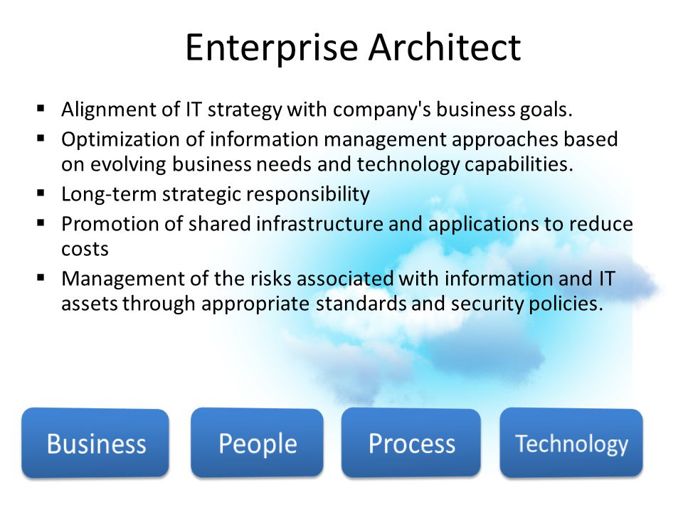 Enterprise Architect  Alignment of IT strategy with company's business goals.  Optimization of information management approaches based on evolving b