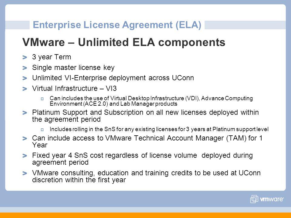 Enterprise License Agreement (ELA) VMware – Unlimited ELA components 3 year Term Single master license key Unlimited VI-Enterprise deployment across U