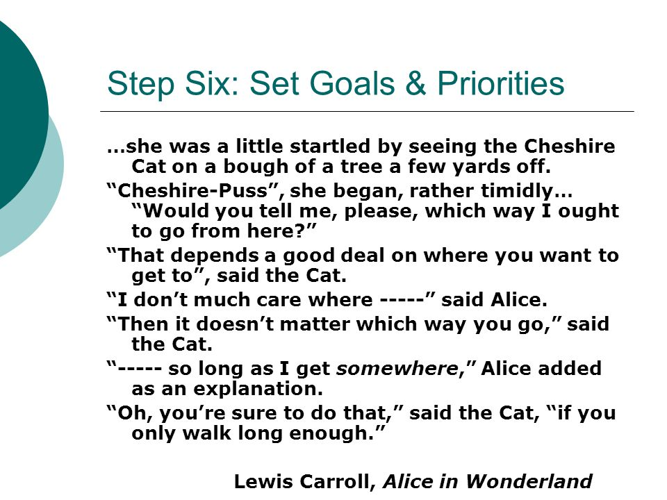 Step Six: Set Goals & Priorities …she was a little startled by seeing the Cheshire Cat on a bough of a tree a few yards off.
