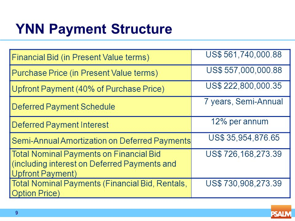 9 9 YNN Payment Structure Financial Bid (in Present Value terms) US$ 561,740,000.88 Purchase Price (in Present Value terms) US$ 557,000,000.88 Upfront