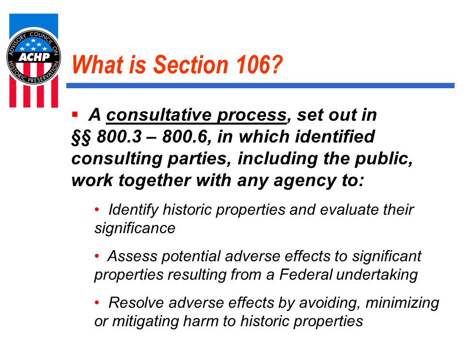 What is Section 106.
