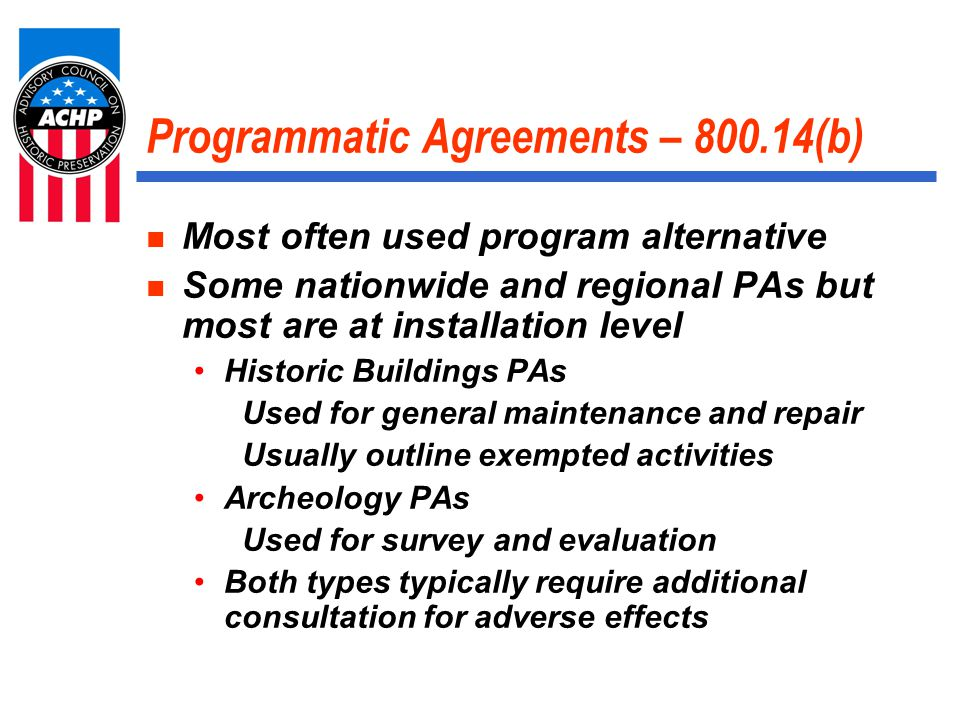 Program Alternatives What are the benefits.