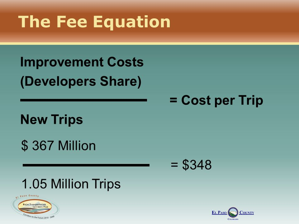 The Fee Equation Improvement Costs (Developers Share) = Cost per Trip New Trips $ 367 Million = $348 1.05 Million Trips
