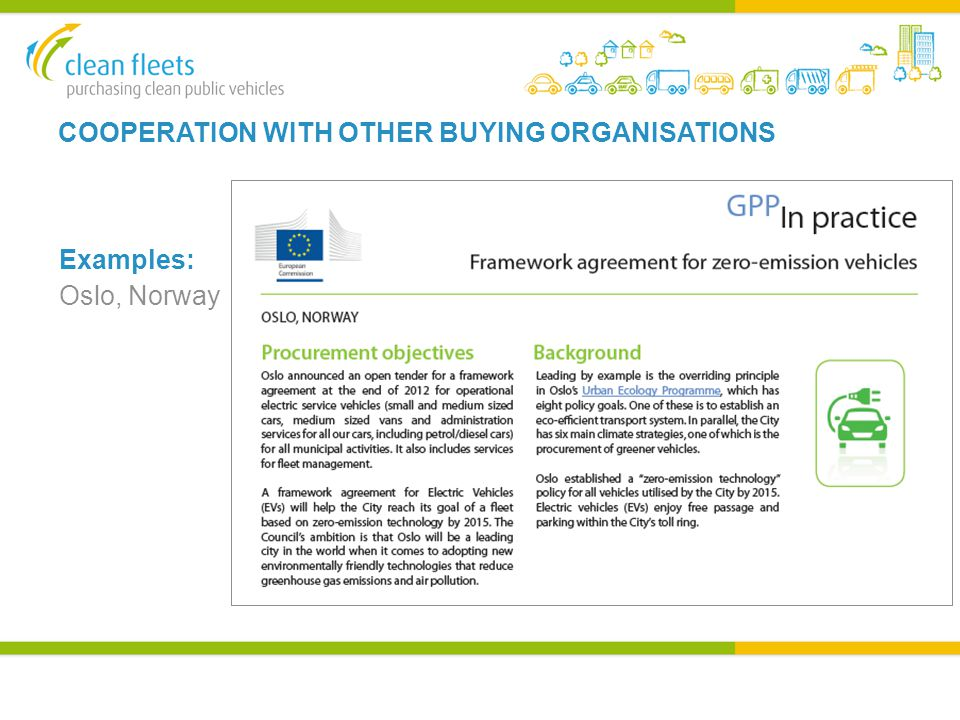 COOPERATION WITH OTHER BUYING ORGANISATIONS Examples: Oslo, Norway