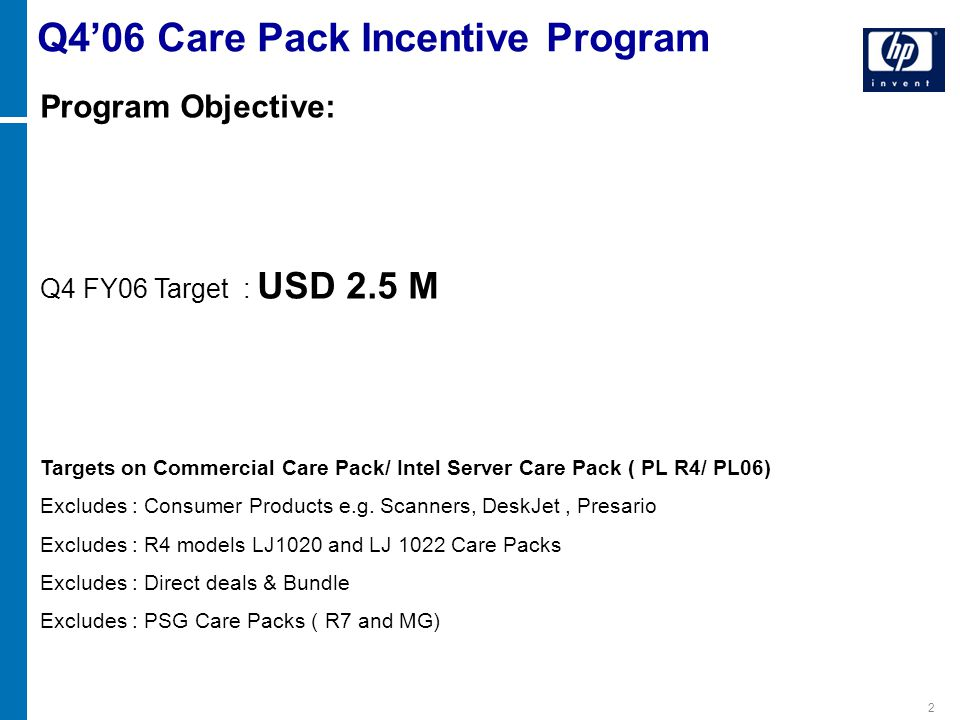 2 Program Objective: Q4 FY06 Target : USD 2.5 M Targets on Commercial Care Pack/ Intel Server Care Pack ( PL R4/ PL06) Excludes : Consumer Products e.