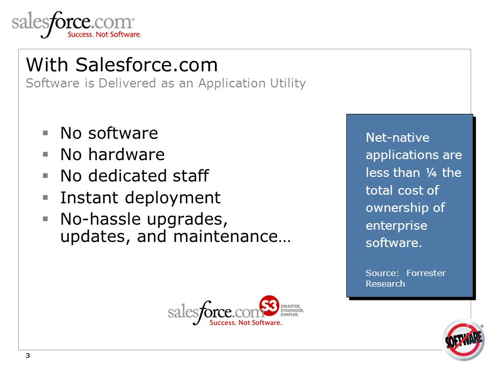3 With Salesforce.com Software is Delivered as an Application Utility  No software  No hardware  No dedicated staff  Instant deployment  No-hassl