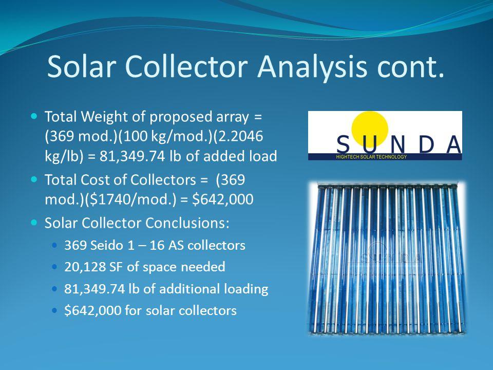 Solar Collector Analysis cont.
