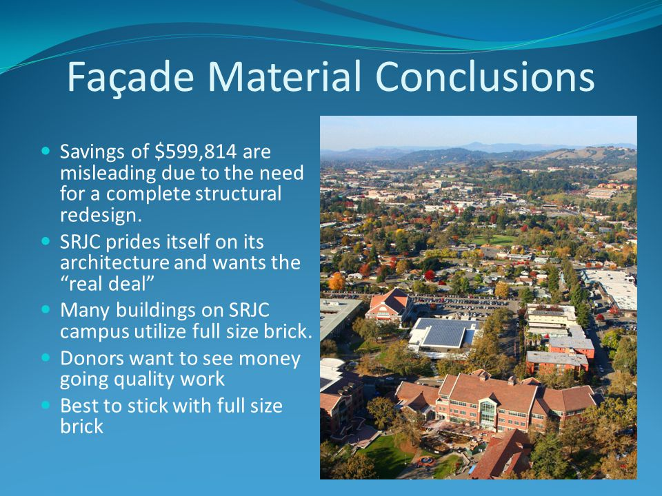 Façade Material Conclusions Savings of $599,814 are misleading due to the need for a complete structural redesign.