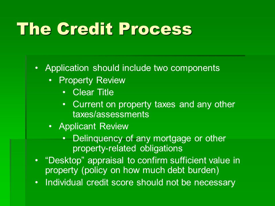The Credit Process Application should include two components Property Review Clear Title Current on property taxes and any other taxes/assessments Applicant Review Delinquency of any mortgage or other property-related obligations Desktop appraisal to confirm sufficient value in property (policy on how much debt burden) Individual credit score should not be necessary