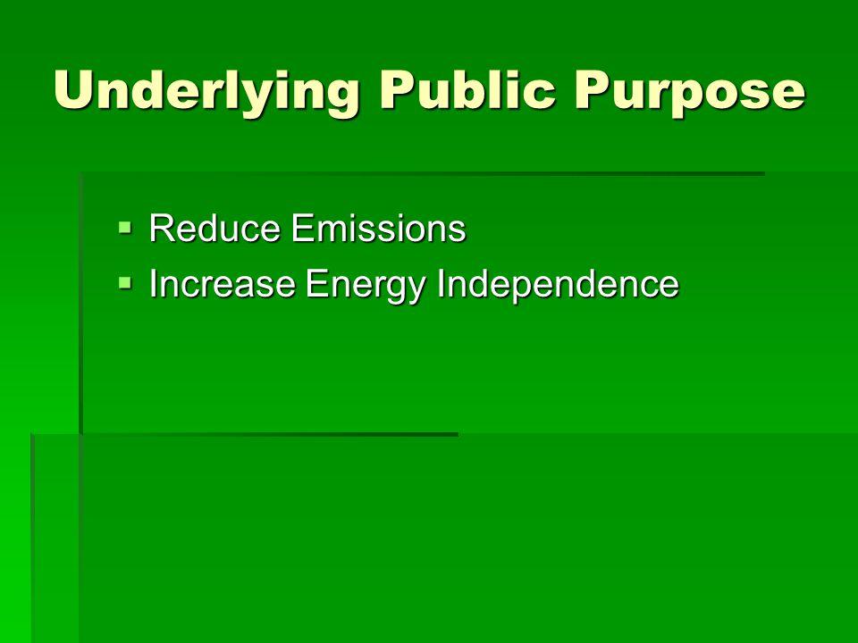 Underlying Public Purpose  Reduce Emissions  Increase Energy Independence