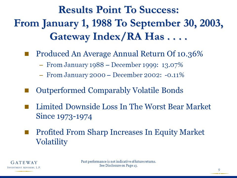9 Results Point To Success: From January 1, 1988 To September 30, 2003, Gateway Index/RA Has.... n Produced An Average Annual Return Of 10.36% –From J