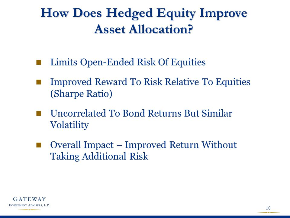 10 How Does Hedged Equity Improve Asset Allocation? n Limits Open-Ended Risk Of Equities n Improved Reward To Risk Relative To Equities (Sharpe Ratio)