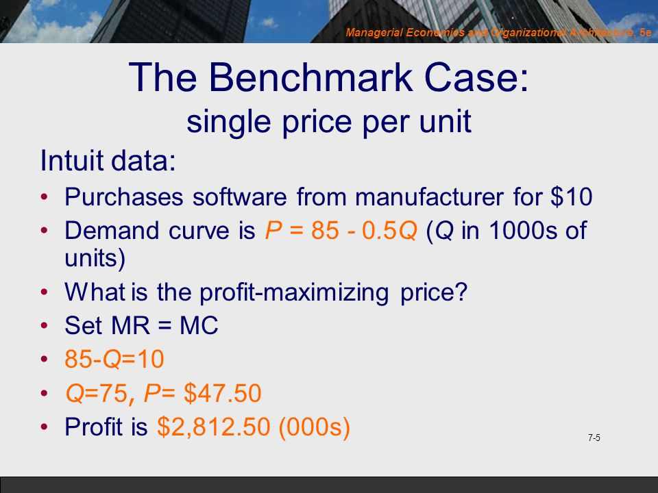 Managerial Economics and Organizational Architecture, 5e The Benchmark Case: single price per unit Intuit data: Purchases software from manufacturer f