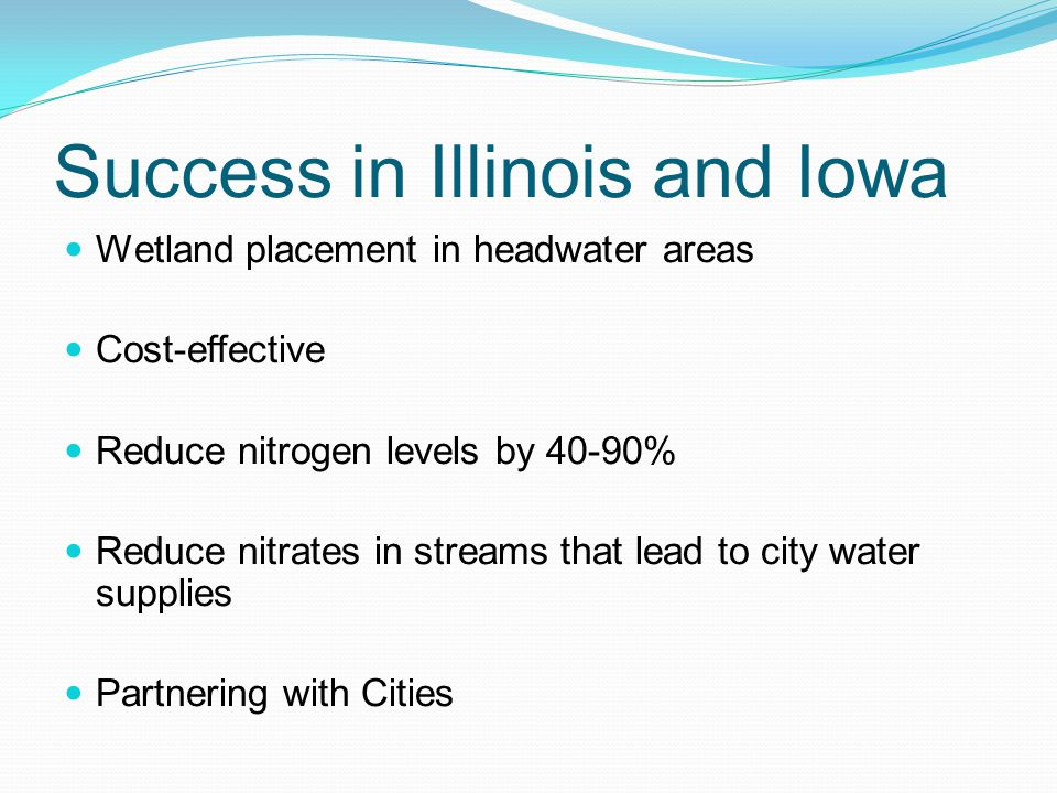 Success in Illinois and Iowa Wetland placement in headwater areas Cost-effective Reduce nitrogen levels by 40-90% Reduce nitrates in streams that lead to city water supplies Partnering with Cities