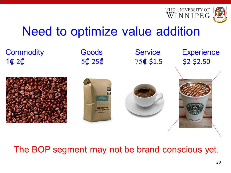 Need to optimize value addition The BOP segment may not be brand conscious yet. Commodity Goods Service Experience 1 ₡-2₡ 5 ₡-25₡ 75 ₡-$1.5 $2-$2.50 2