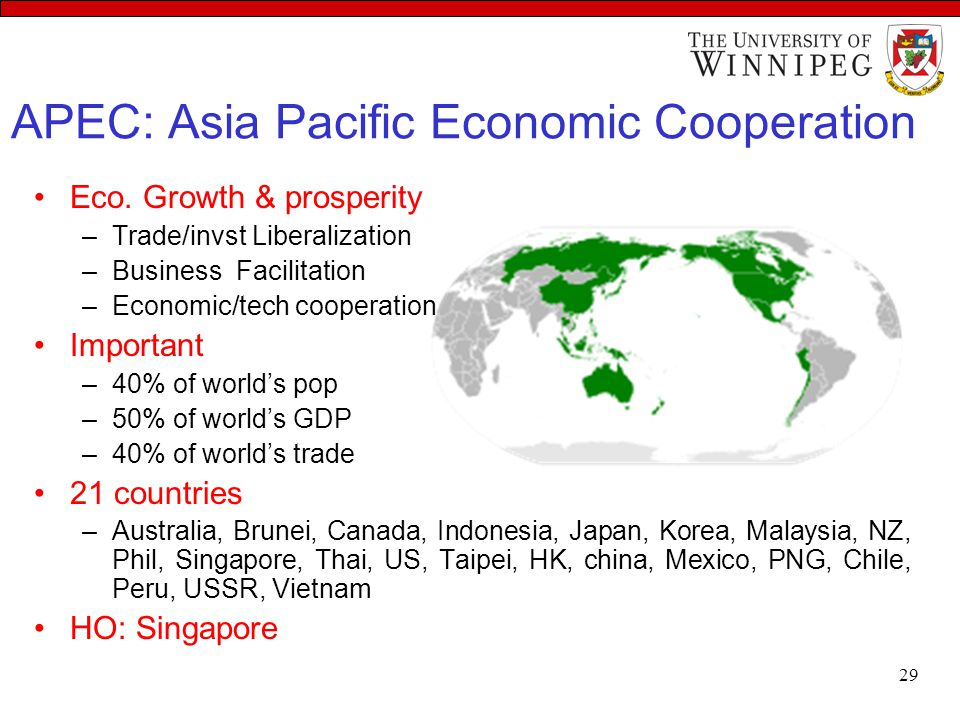 APEC: Asia Pacific Economic Cooperation Eco. Growth & prosperity –Trade/invst Liberalization –Business Facilitation –Economic/tech cooperation Importa