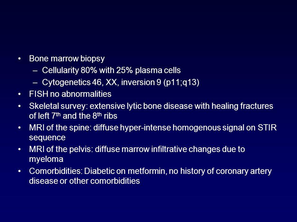 Bone marrow biopsy –Cellularity 80% with 25% plasma cells –Cytogenetics 46, XX, inversion 9 (p11;q13) FISH no abnormalities Skeletal survey: extensive