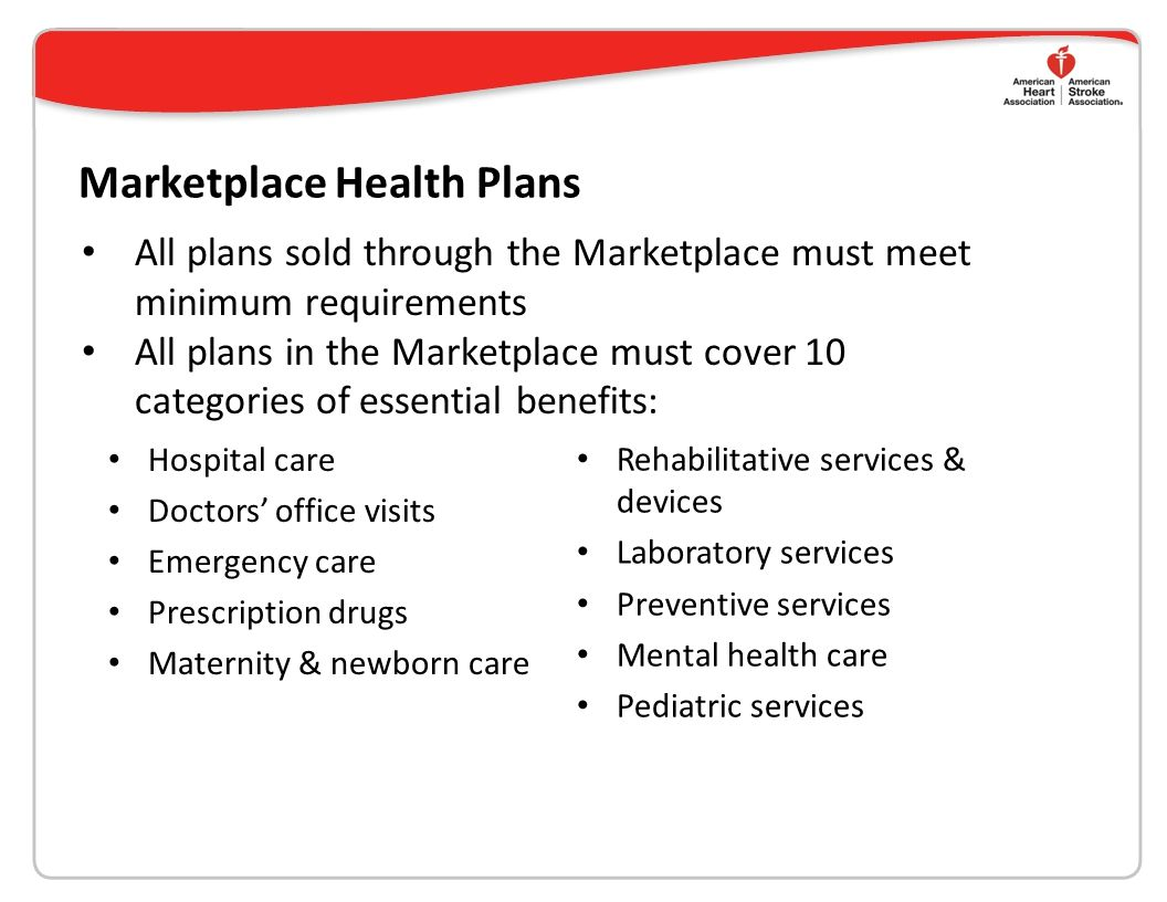 Marketplace Health Plans Hospital care Doctors' office visits Emergency care Prescription drugs Maternity & newborn care Rehabilitative services & devices Laboratory services Preventive services Mental health care Pediatric services All plans sold through the Marketplace must meet minimum requirements All plans in the Marketplace must cover 10 categories of essential benefits:
