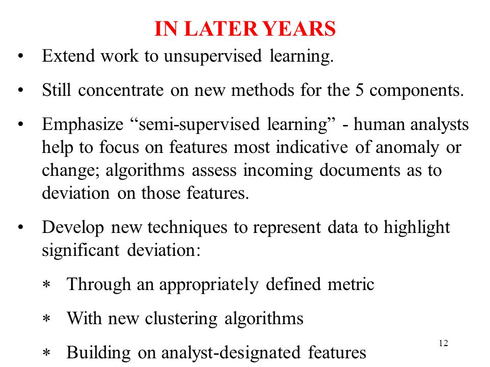 12 Extend work to unsupervised learning. Still concentrate on new methods for the 5 components.