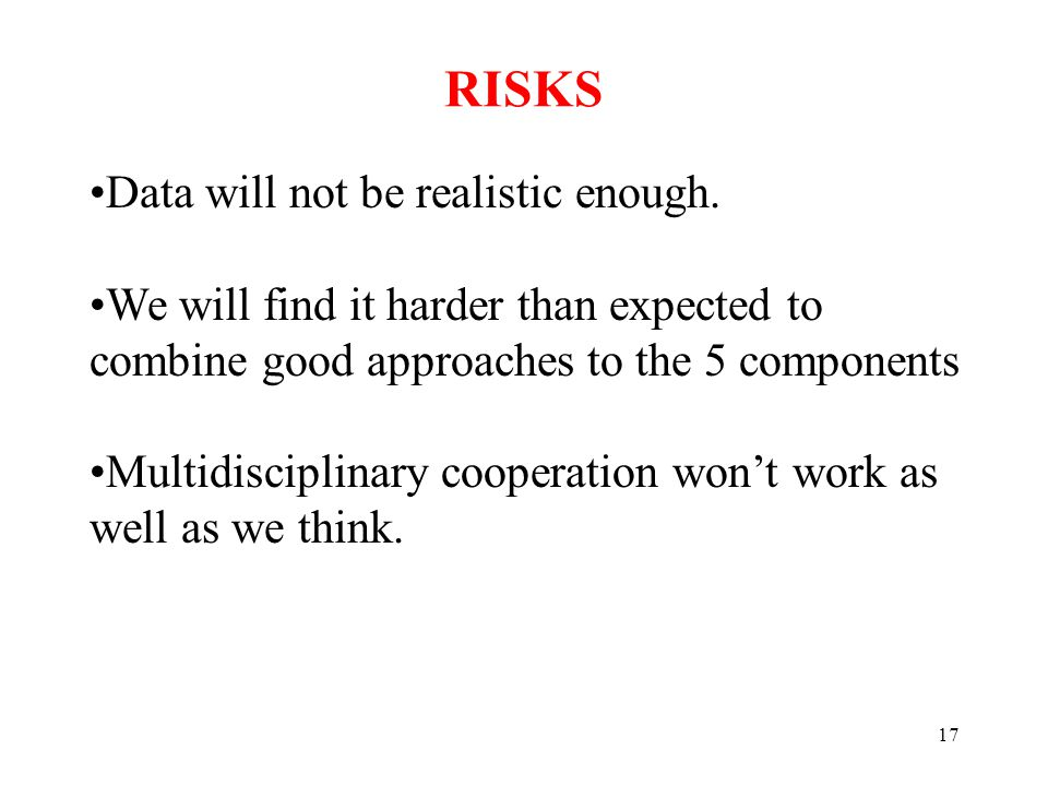 17 RISKS Data will not be realistic enough.