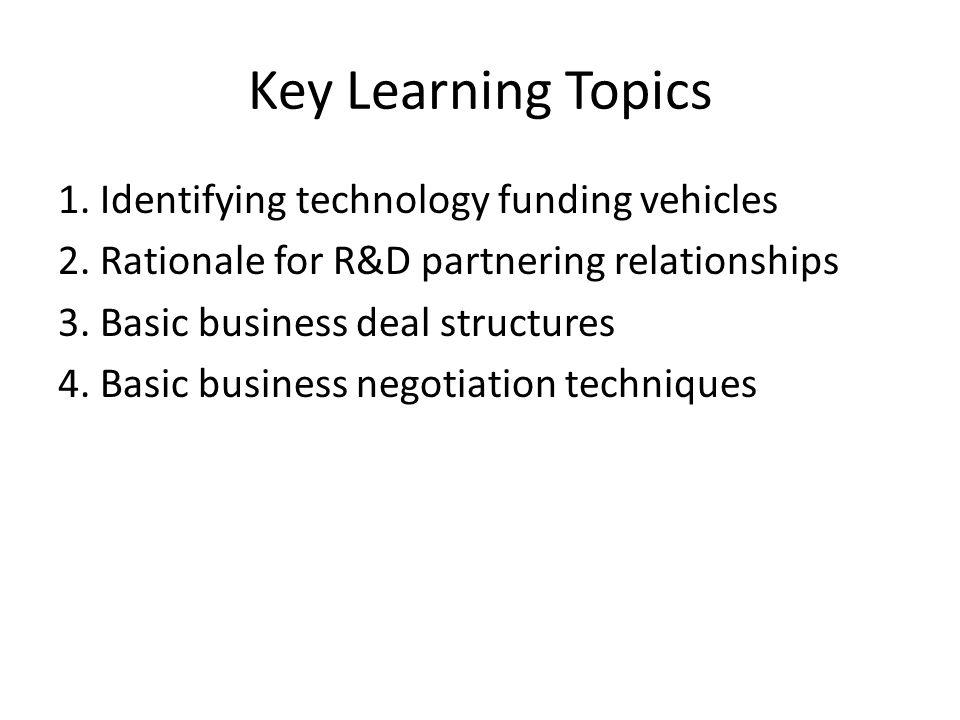 Key Learning Topics 1. Identifying technology funding vehicles 2.