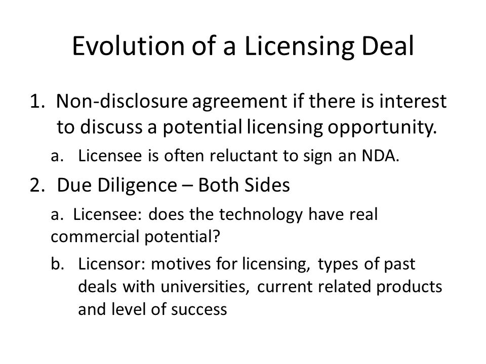 Evolution of a Licensing Deal 1.
