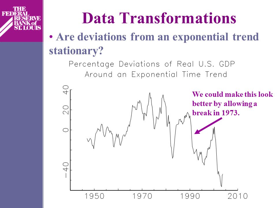 Data Transformations Are deviations from an exponential trend stationary.
