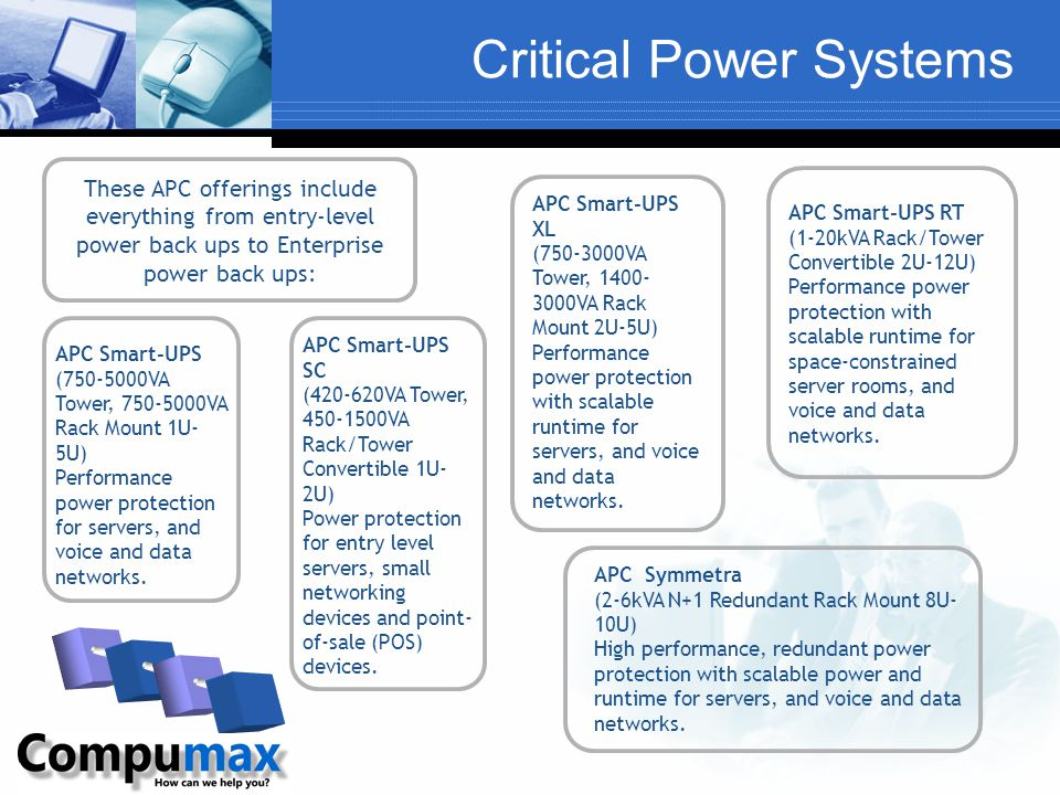 Critical Power Systems APC Smart-UPS (750-5000VA Tower, 750-5000VA Rack Mount 1U- 5U) Performance power protection for servers, and voice and data net