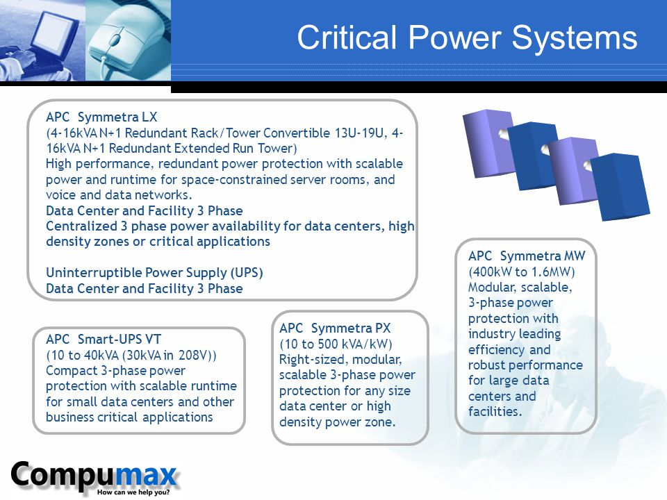 Critical Power Systems APC Smart-UPS VT (10 to 40kVA (30kVA in 208V)) Compact 3-phase power protection with scalable runtime for small data centers and other business critical applications APC Symmetra PX (10 to 500 kVA/kW) Right-sized, modular, scalable 3-phase power protection for any size data center or high density power zone.