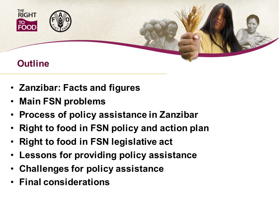 Zanzibar: Facts and figures Main FSN problems Process of policy assistance in Zanzibar Right to food in FSN policy and action plan Right to food in FSN legislative act Lessons for providing policy assistance Challenges for policy assistance Final considerations Outline
