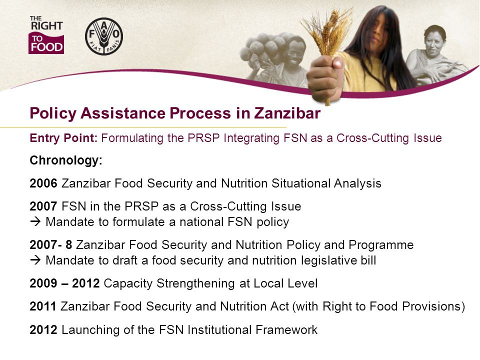 Policy Assistance Process in Zanzibar Entry Point: Formulating the PRSP Integrating FSN as a Cross-Cutting Issue Chronology: 2006 Zanzibar Food Security and Nutrition Situational Analysis 2007 FSN in the PRSP as a Cross-Cutting Issue  Mandate to formulate a national FSN policy 2007- 8 Zanzibar Food Security and Nutrition Policy and Programme  Mandate to draft a food security and nutrition legislative bill 2009 – 2012 Capacity Strengthening at Local Level 2011 Zanzibar Food Security and Nutrition Act (with Right to Food Provisions) 2012 Launching of the FSN Institutional Framework
