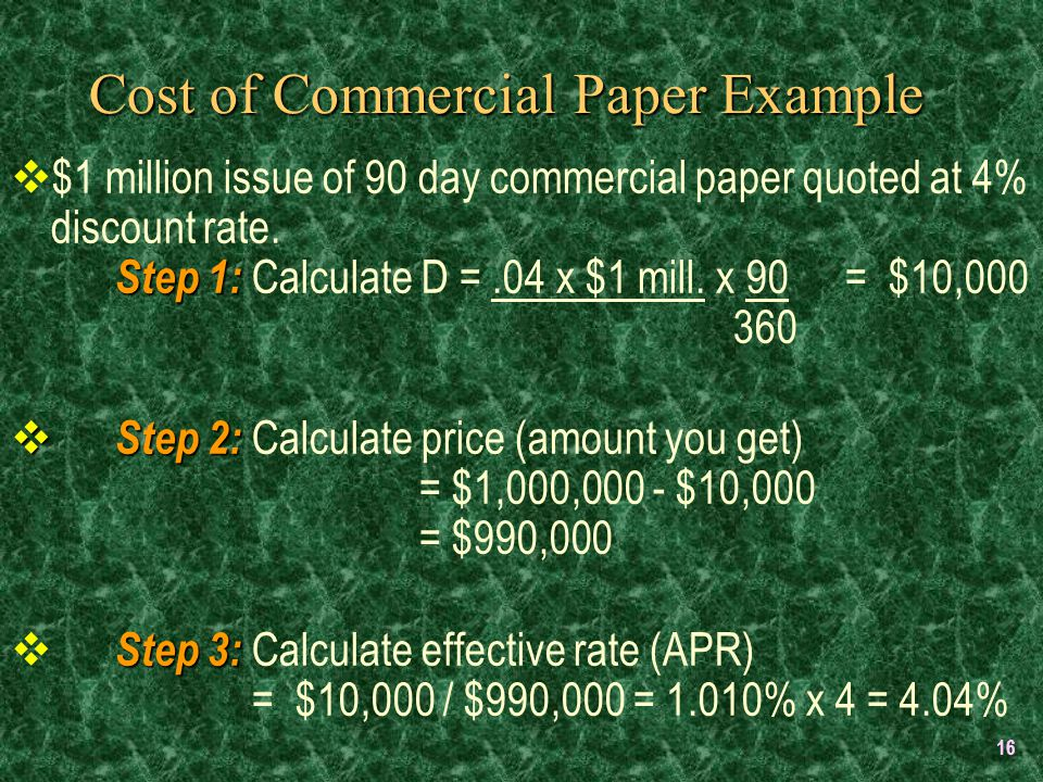 16 Cost of Commercial Paper Example Step 1:  $1 million issue of 90 day commercial paper quoted at 4% discount rate.